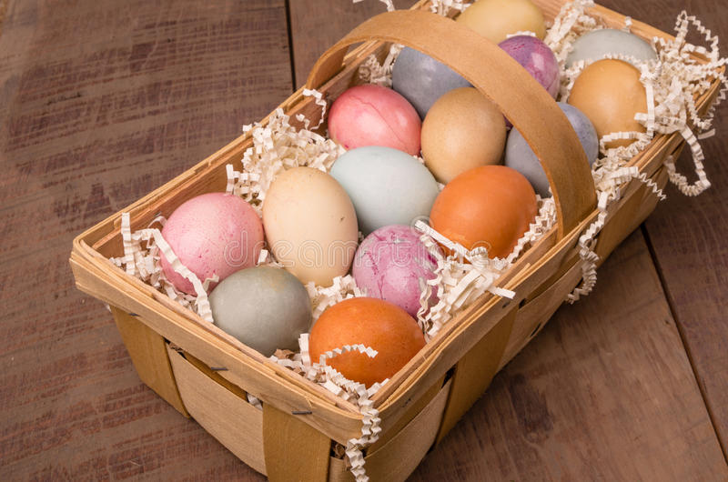 Naturally dyed Easter eggs for holiday royalty free stock photography