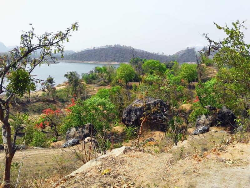 Naturalna piękna sceneria skalista góra obrazy royalty free