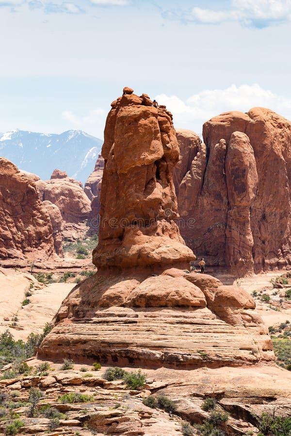 Naturalna piaskowcowa formacja w łukach parki narodowi, Utah, usa obrazy stock