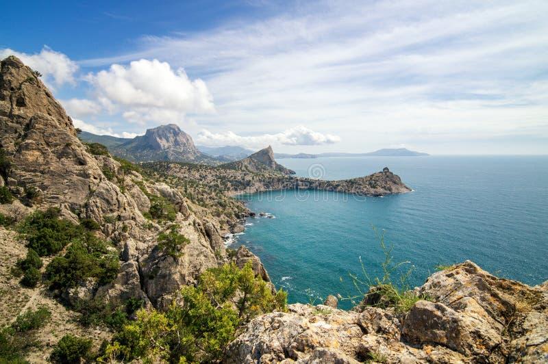 Naturalna rezerwa góra Karaul-Oba, Crimea, miasto Sudak, Czarny denny wybrzeże obrazy stock