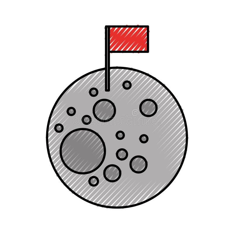 Naturalna satelitarna księżyc z flaga ilustracja wektor