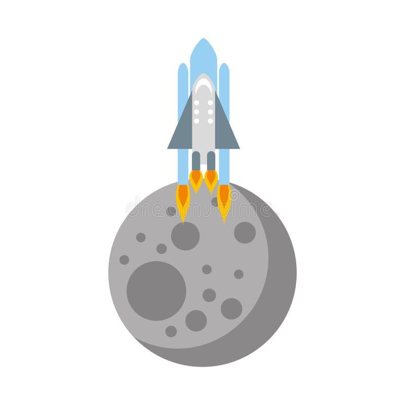 Naturalna satelitarna księżyc z rakietą royalty ilustracja