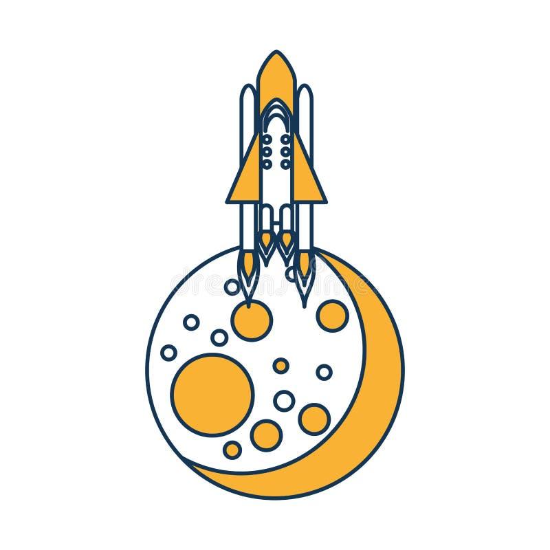 Naturalna satelitarna księżyc z rakietą ilustracja wektor