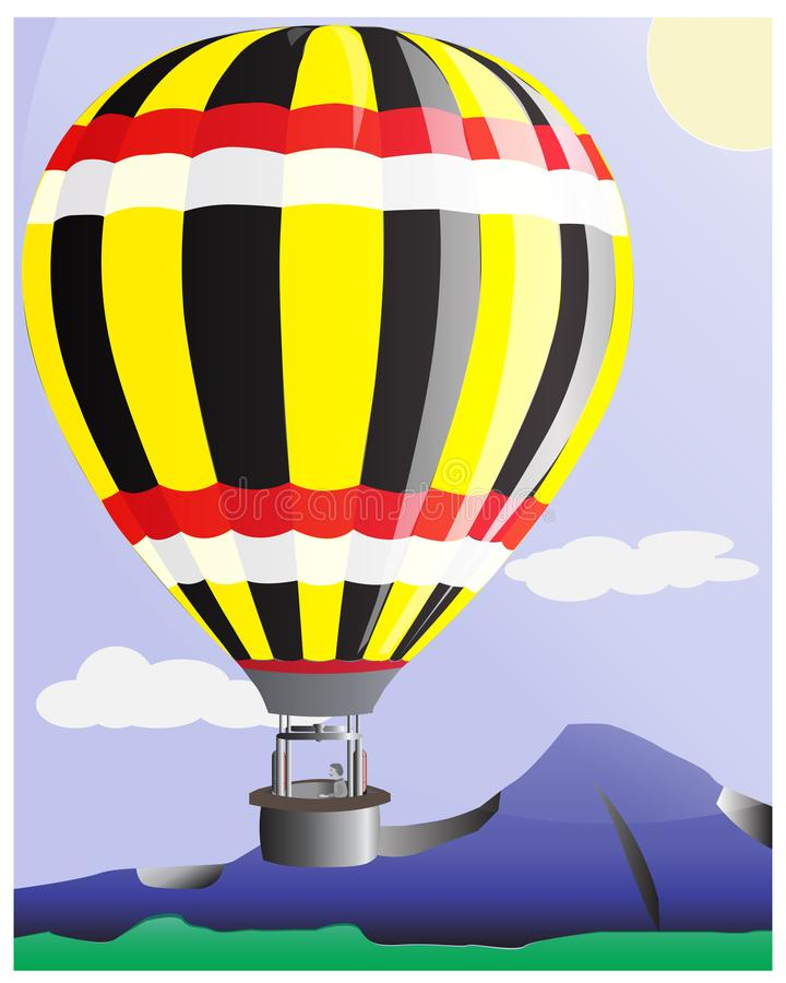 Naturalna sceneria z górami i balonami royalty ilustracja