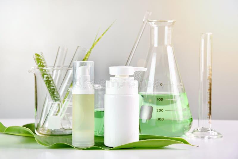 Naturalna skóry opieka, Zielony ziołowy organicznie piękno produktu odkrycie przy laboratorium naukowym fotografia stock