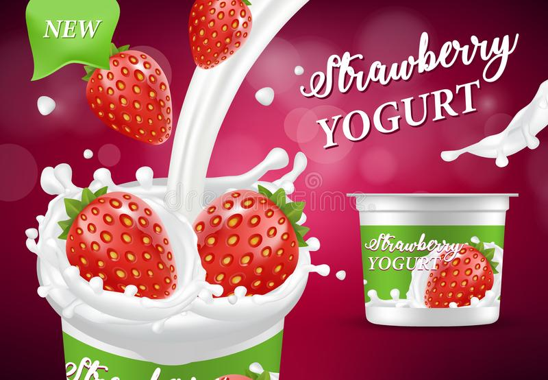 Naturalna truskawkowa jogurt reklama, wektorowa realistyczna ilustracja royalty ilustracja