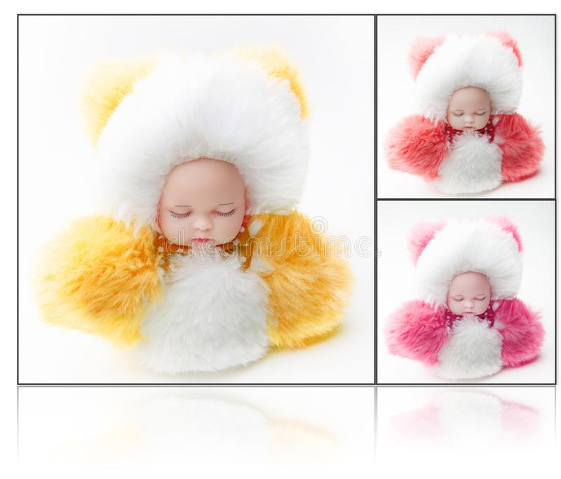 Naturalna wełny zabawki lala colours futerko obraz stock