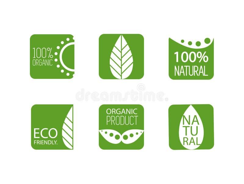 Naturalne organicznie etykietki również zwrócić corel ilustracji wektora Set różne zielone odznaki Życiorys, naturalny, organiczn royalty ilustracja