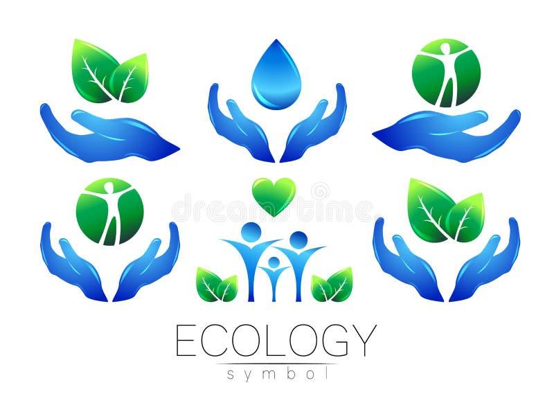 Naturalnego loga projekta wektorowy set Ręka liści peple na białym tle i woda Zieleni i błękita kolory Znak dla ilustracji