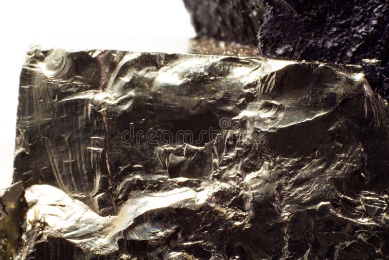 Naturalnego złotego pirytu makro- tekstura fotografia stock