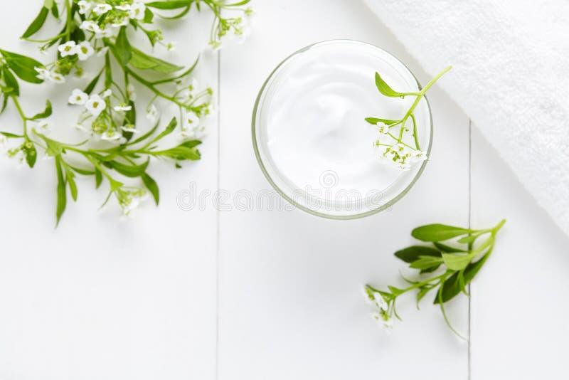 Naturalnego ziołowego zdroju kosmetyczna higieniczna śmietanka z kwiatu skincare produktem obrazy stock
