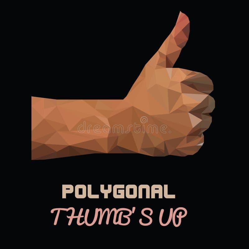 Naturalnej skóry aprobat wektoru Poligonalny znak ręką, jak znak ręką (wektorowa ilustracja wiele trójboki) ilustracja wektor