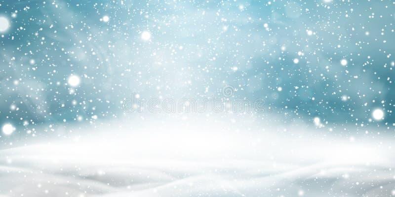 Naturalnej zimy Bożenarodzeniowy tło z niebieskim niebem, ciężkim opadem śniegu, płatkami śniegu w różnych kształtach i formami,  ilustracja wektor