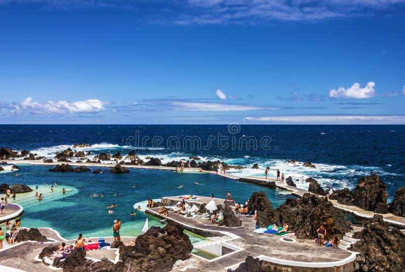 Naturalni baseny w kurorcie Port Moniz, madery wyspa, Portugalia obraz royalty free