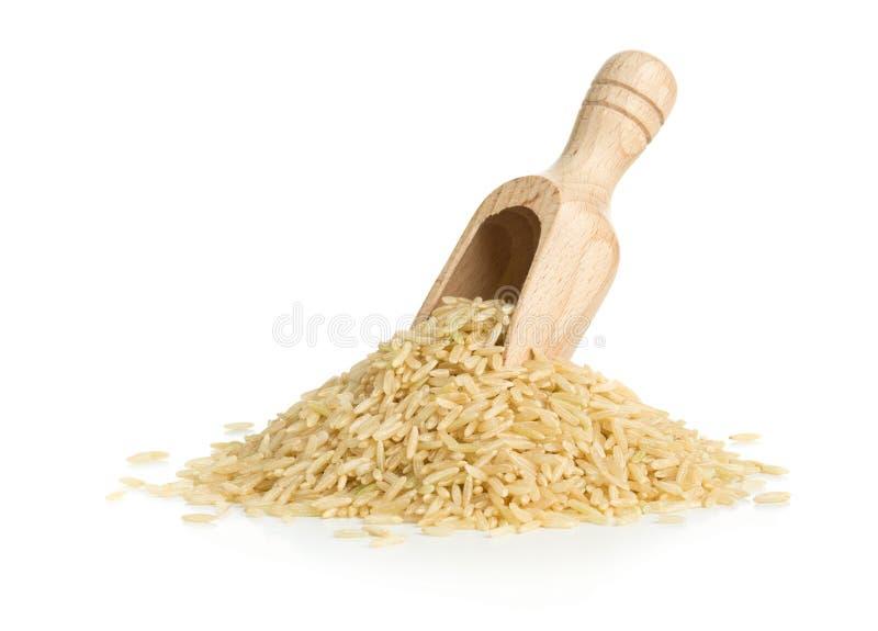 Naturalni brown uncooked ryż w drewnianej miarce fotografia stock