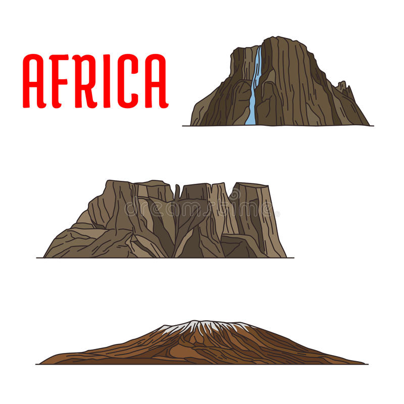 Naturalni podróż punkty zwrotni Afryka ikona, cienieją linię ilustracja wektor