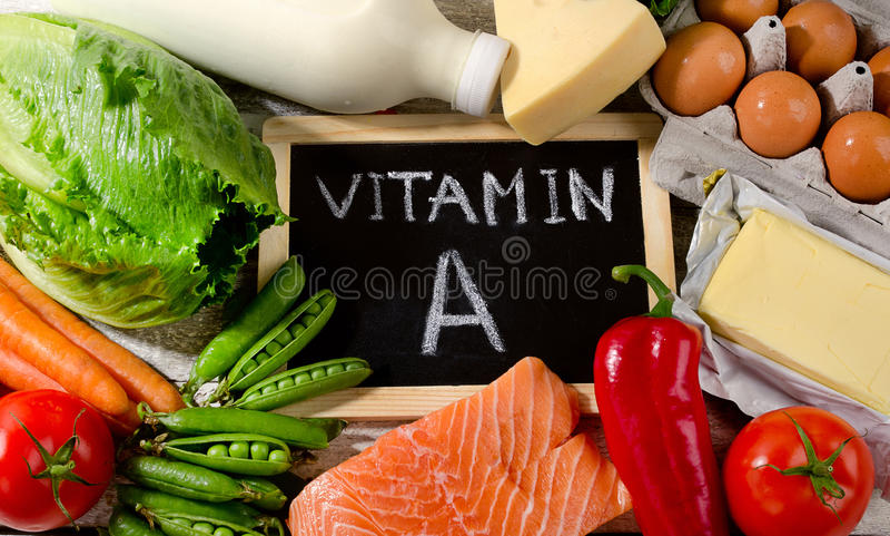 Naturalni produkty bogaci w witaminie A zdrowe jeść zdjęcia stock