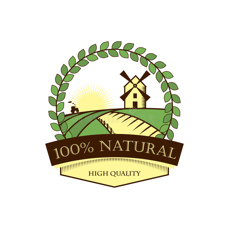 Naturalni produkty, etykietka, ikona, znak towarowy Round bobek rama, krajobraz z młynem powstający słońce wektor ilustracja wektor