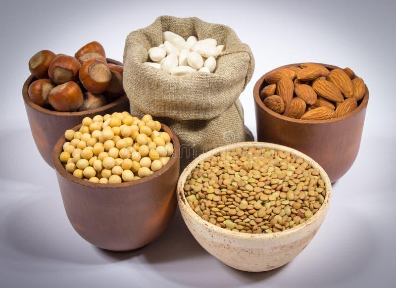 Naturalni produkty zawiera rośliien proteiny obrazy stock