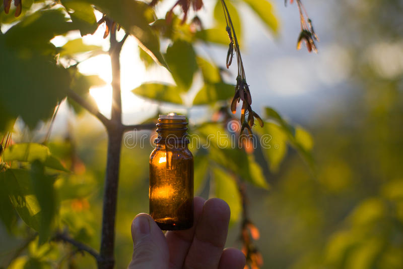 Naturalni remedia - olej, ziołowy fotografia stock