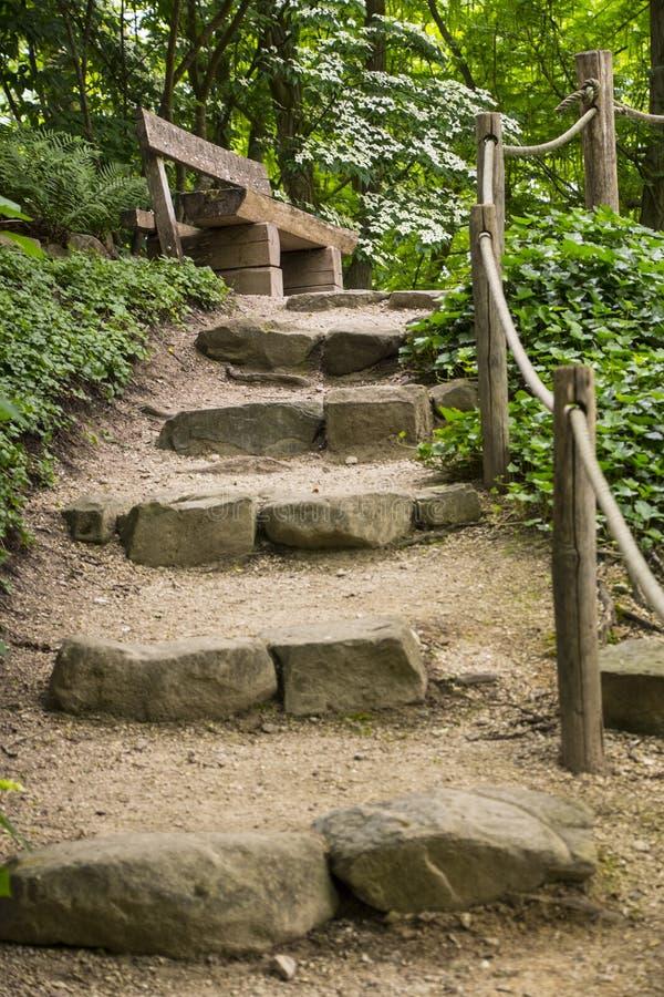 Naturalni schodki robi? kamie? w ogr?dzie lub parku Przygotowania natura zdjęcia stock