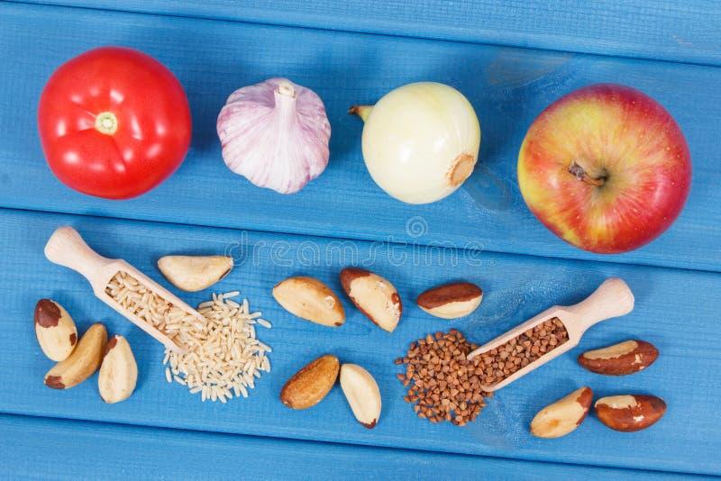 Naturalni składniki lub produkty jako źródło selen, kopaliny i żywienioniowy włókno, obrazy stock