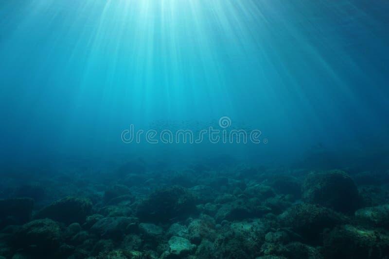 Naturalni sunbeams podwodni z skałami na dnie morskim obrazy stock