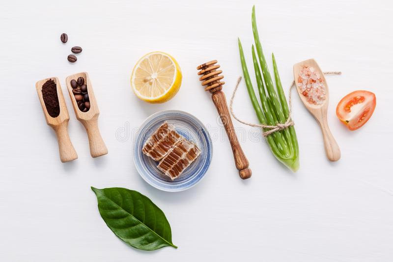 Naturalni ziołowi skóry opieki produkty Odgórnego widoku składników aloesu ver obraz royalty free