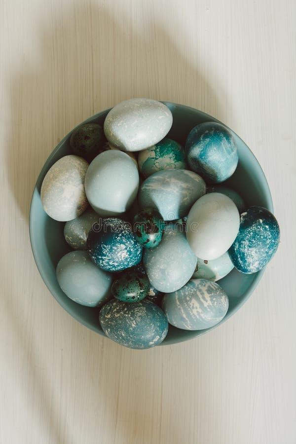 Naturalnie farbujący Wielkanocni błękitni jajka, otaczający białymi kwiatami obraz royalty free