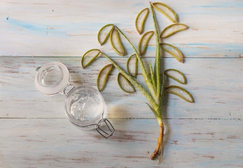 Naturalny aloesu Vera gel w szklanym słoju z aloesu Vera rośliną zdjęcia royalty free