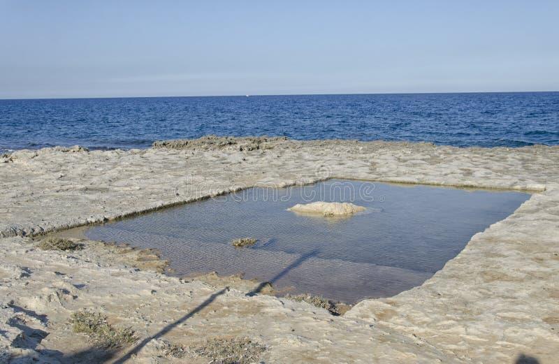 Naturalny basen kopiący w skale obrazy royalty free
