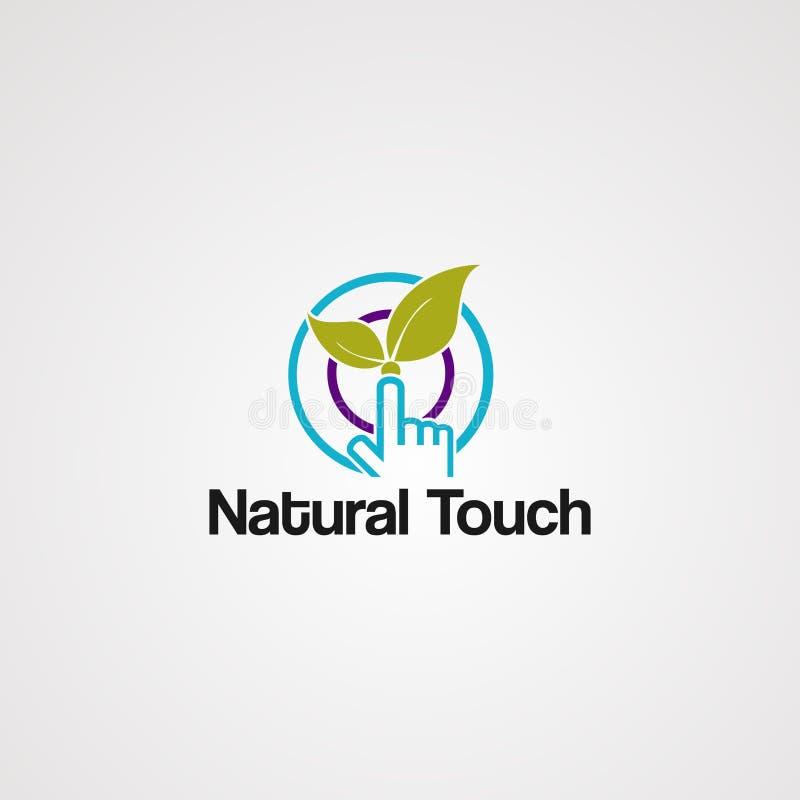 Naturalny dotyka logo wektor z liściem, okrąg, element, ikona i szablon dla firmy, royalty ilustracja