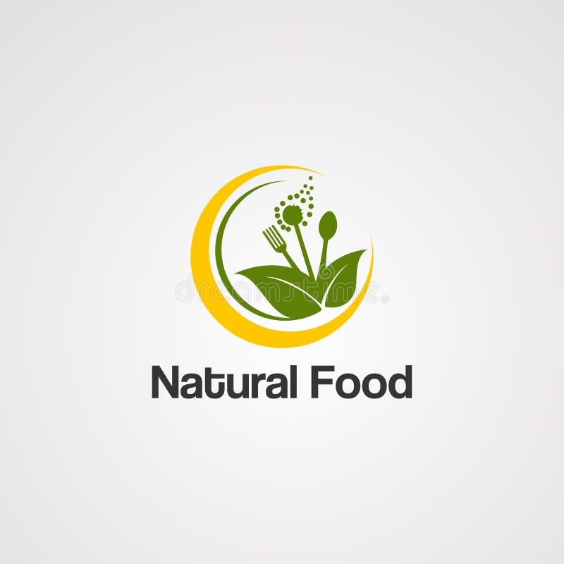 Naturalny jedzenie z organicznie li?cia logo wektorowym poj?ciem, ikon?, elementem i szablonem dla biznesu, ilustracji