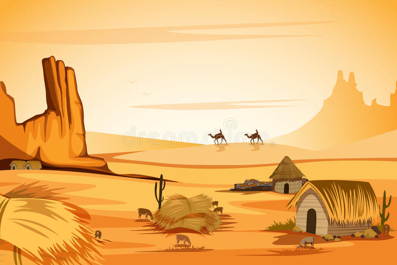 Naturalny krajobraz piasek diuna w pustyni ilustracji
