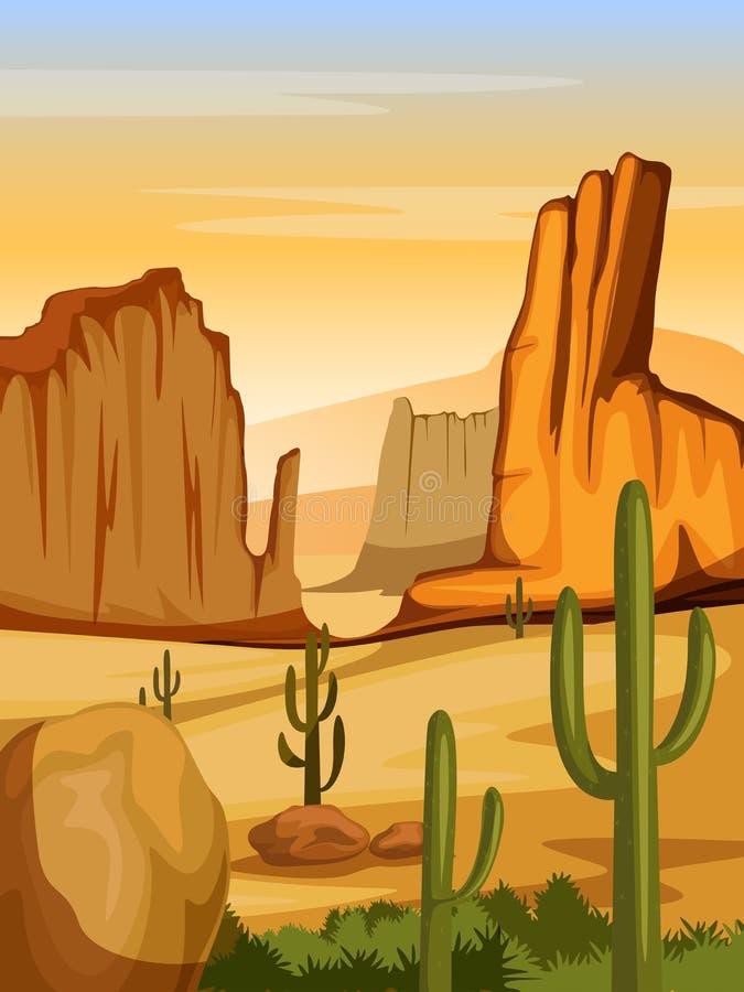 Naturalny krajobraz piasek diuna w pustyni ilustracja wektor