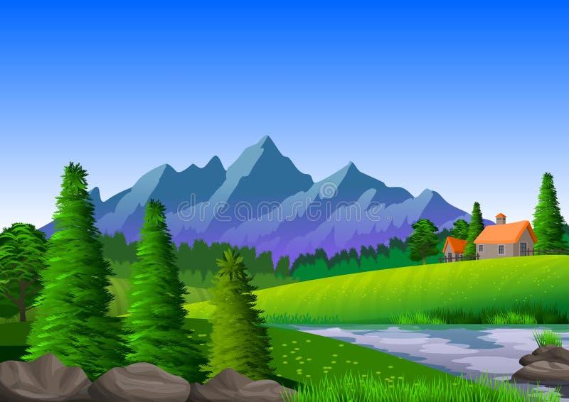 Naturalny krajobraz z górami, małym odosobnionym domem, drzewami, rzeką i skałami, royalty ilustracja