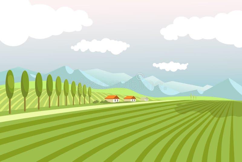 Naturalny krajobraz z szerokimi zaoranymi polami i wysokimi górami ilustracja wektor