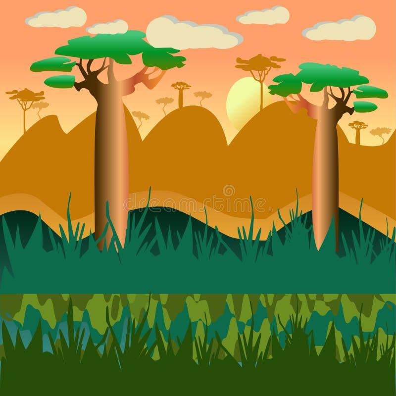 Naturalny krajobrazowy tło z baobabem ilustracja wektor