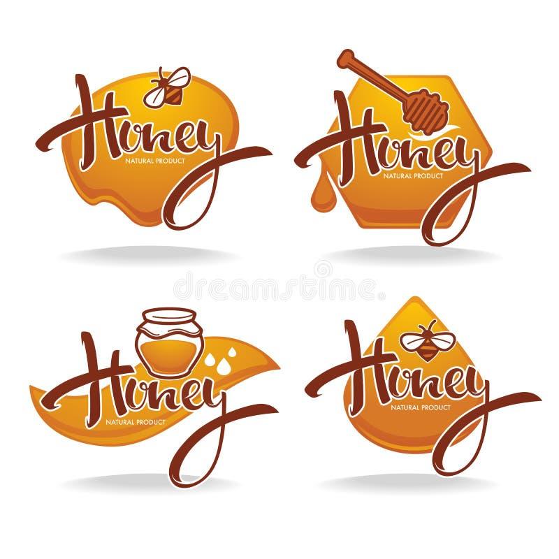 Naturalny miód, majcher, symbol, logo, etykietka, emblemat kolekcja, ilustracja wektor