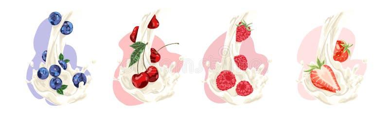 Naturalny mleko przepływ z soczystą czarną jagodą, wiśnią, malinką i truskawką, witaminy dieta, słodki organicznie napoju set ilustracja wektor