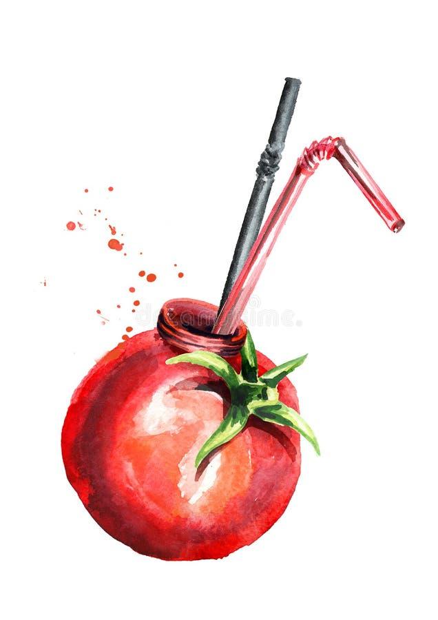 Naturalny organicznie pomidorowy sok Akwareli ręka rysująca ilustracja, odizolowywająca na białym tle ilustracji