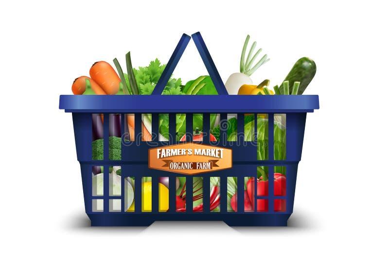 Naturalny organicznie warzywo w zakupy koszu z kalafiorem, brokuły i marchewki royalty ilustracja