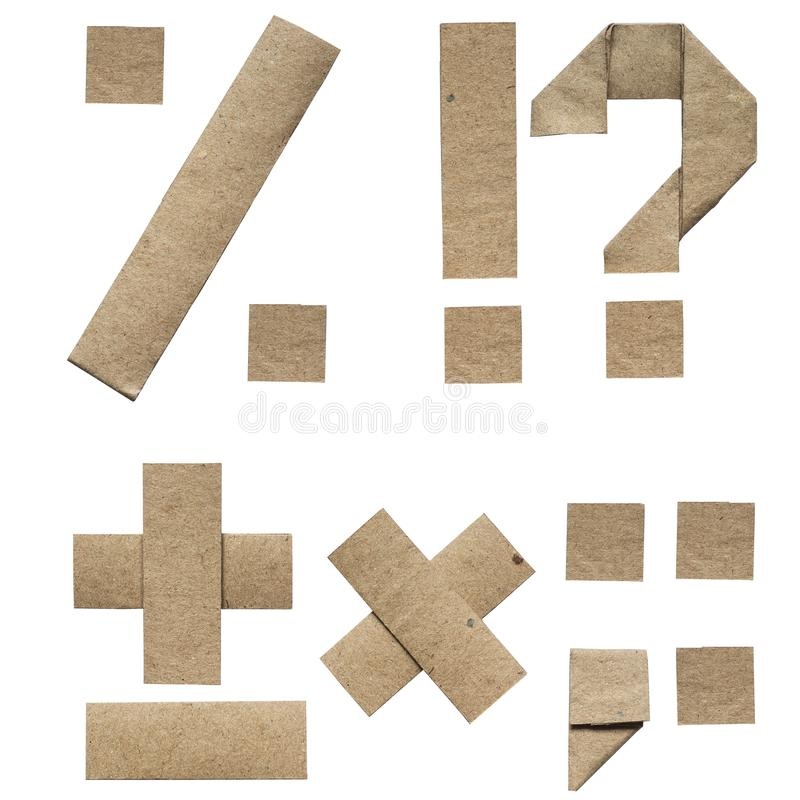 Naturalny origami składający brązu rzemiosła eco papieru abecadła listy i interpunkcja (abc) (procent, plus, minus, kropka, pytan zdjęcia stock