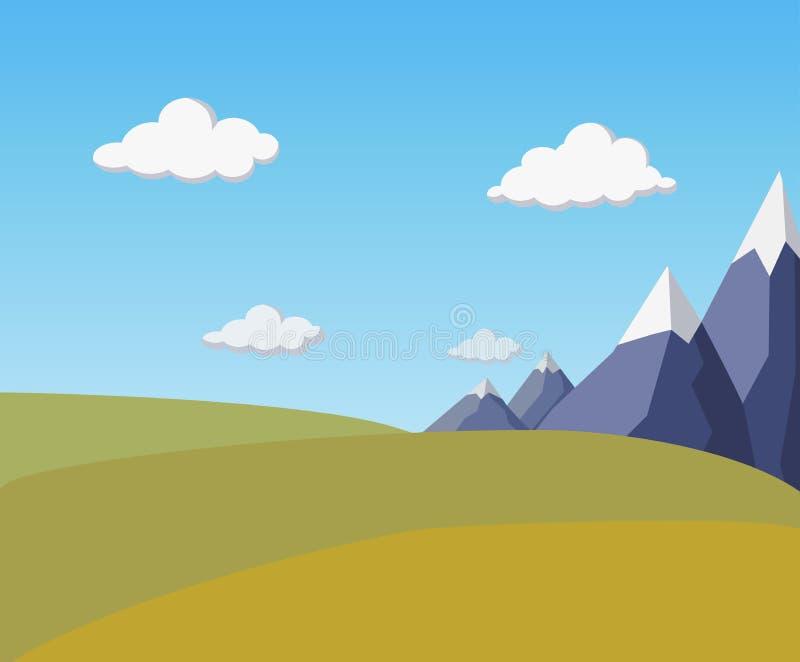 naturalny płaski jesień krajobraz z górami, pszenicznymi wiejskimi polami, niebieskim niebem i puszystymi chmurami, stylizowana w royalty ilustracja