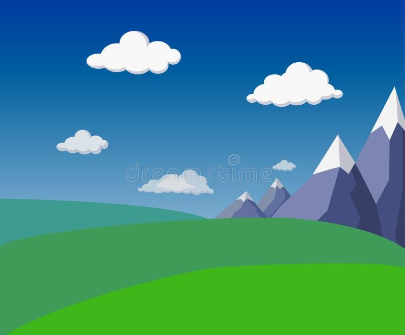 naturalny płaski lato zieleni krajobraz z górami, zielonymi wzgórzami, polami, jaskrawym niebieskim niebem i puszystymi chmurami, ilustracja wektor