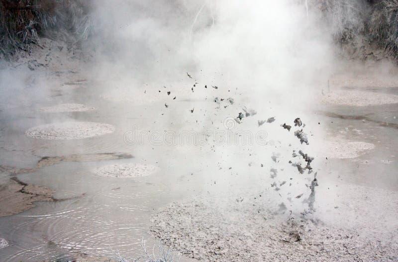 Naturalny powulkaniczny żywy borowinowy basen przy Wai-O-Tapu geotermicznym parkiem w Nowa Zelandia fotografia stock