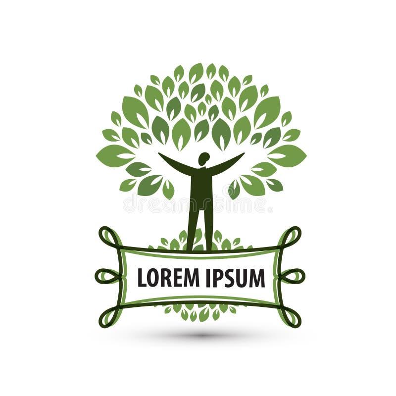 Naturalny produkt Natura i mężczyzna Logo, ikona, ilustracji