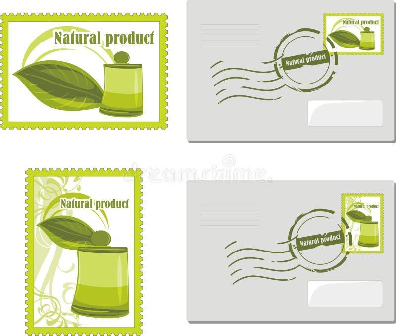 Naturalny produkt. Odkrywa znaczek i wysyła ilustracja wektor