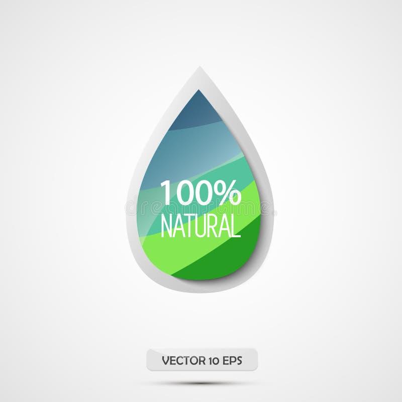 100 naturalny również zwrócić corel ilustracji wektora Błękita i zieleni wody kropla ilustracji