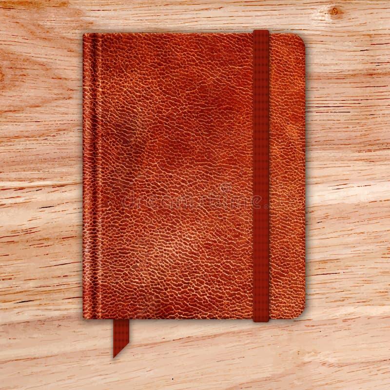 Naturalny Rzemienny notatnik Na Drewnianym biurku. Copybook Z zespołem royalty ilustracja
